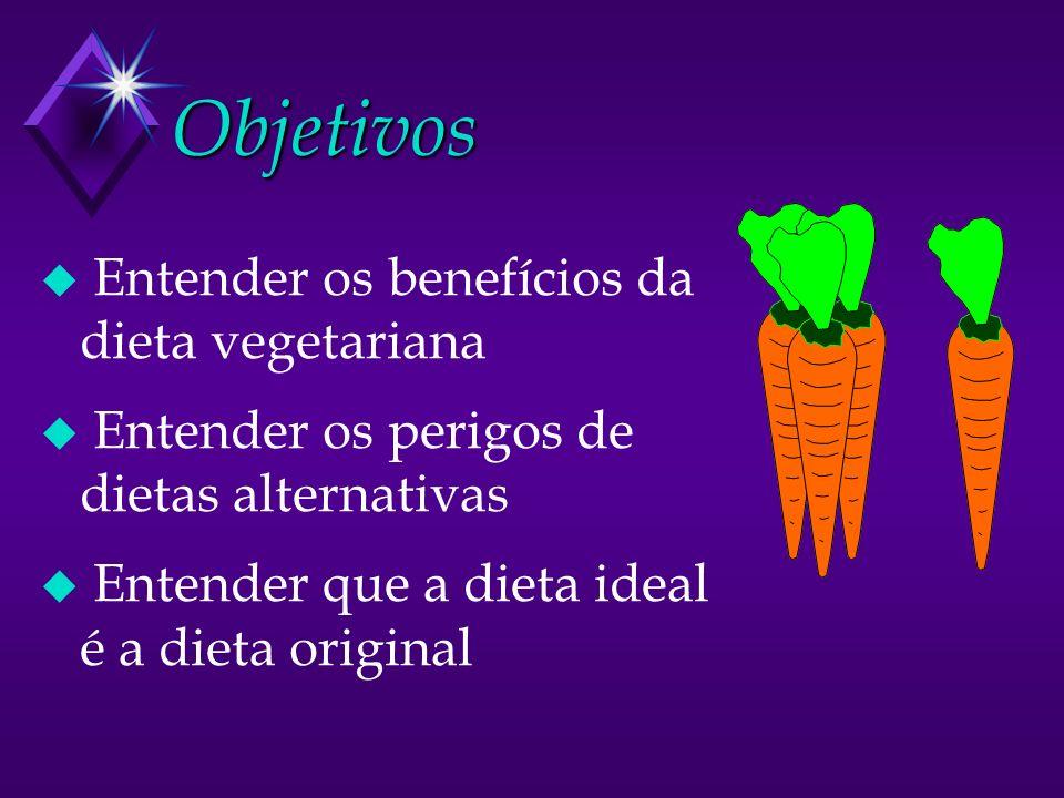 Objetivos u Entender os benefícios da dieta vegetariana u Entender os perigos de dietas alternativas u Entender que a dieta ideal é a dieta original