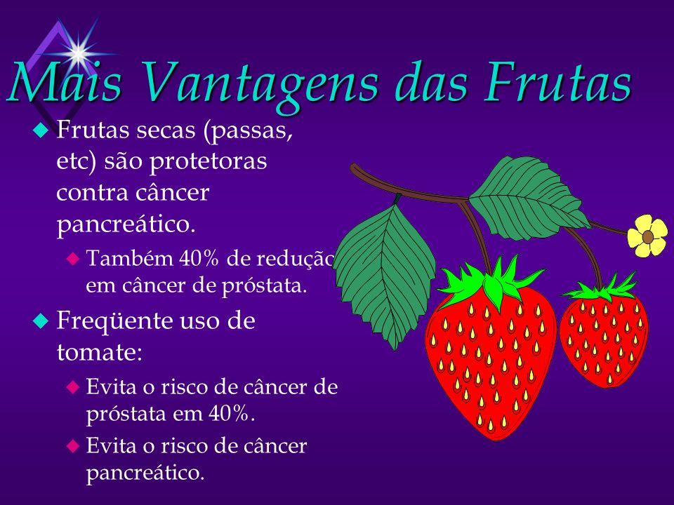 Mais Vantagens das Frutas u Frutas secas (passas, etc) são protetoras contra câncer pancreático. u Também 40% de redução em câncer de próstata. u Freq