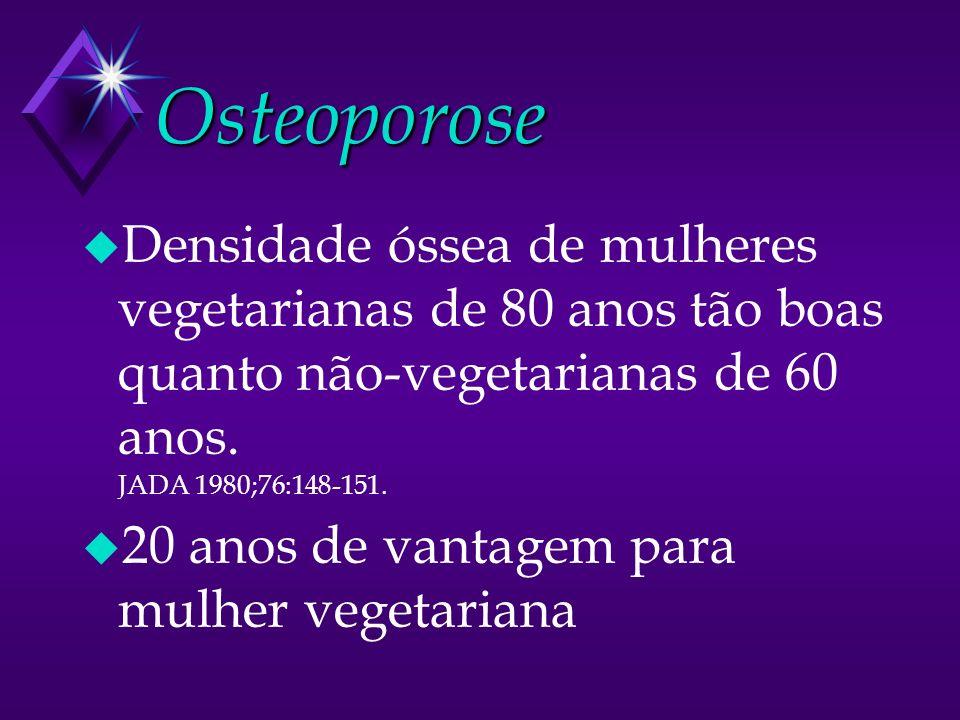 Osteoporose u Densidade óssea de mulheres vegetarianas de 80 anos tão boas quanto não-vegetarianas de 60 anos. JADA 1980;76:148-151. u 20 anos de vant