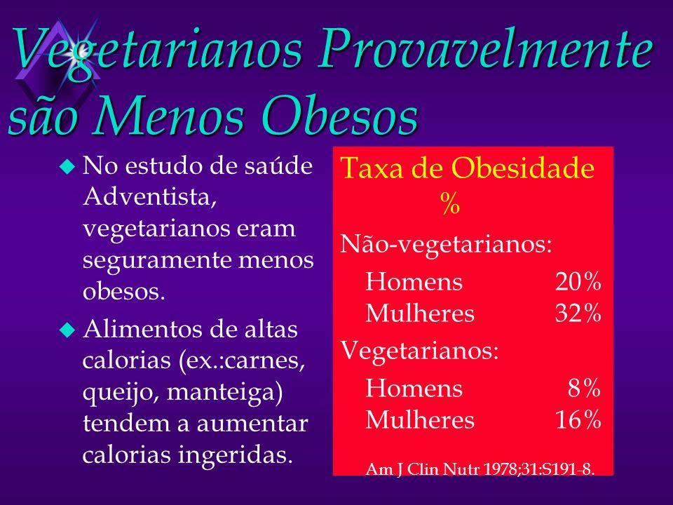 Vegetarianos Provavelmente são Menos Obesos u No estudo de saúde Adventista, vegetarianos eram seguramente menos obesos. u Alimentos de altas calorias