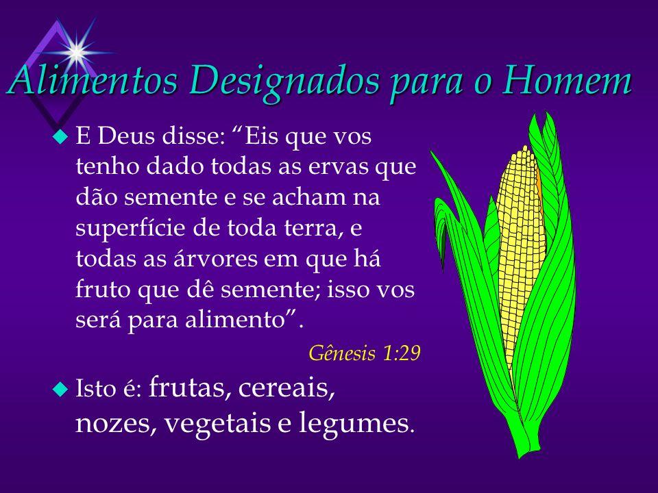 Alimentos Designados para o Homem u E Deus disse: Eis que vos tenho dado todas as ervas que dão semente e se acham na superfície de toda terra, e toda