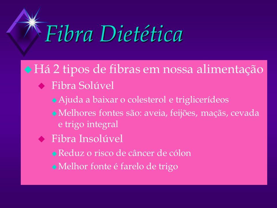 Fibra Dietética u Há 2 tipos de fibras em nossa alimentação u Fibra Solúvel u Ajuda a baixar o colesterol e triglicerídeos u Melhores fontes são: aveia, feijões, maçãs, cevada e trigo integral u Fibra Insolúvel u Reduz o risco de câncer de cólon u Melhor fonte é farelo de trigo