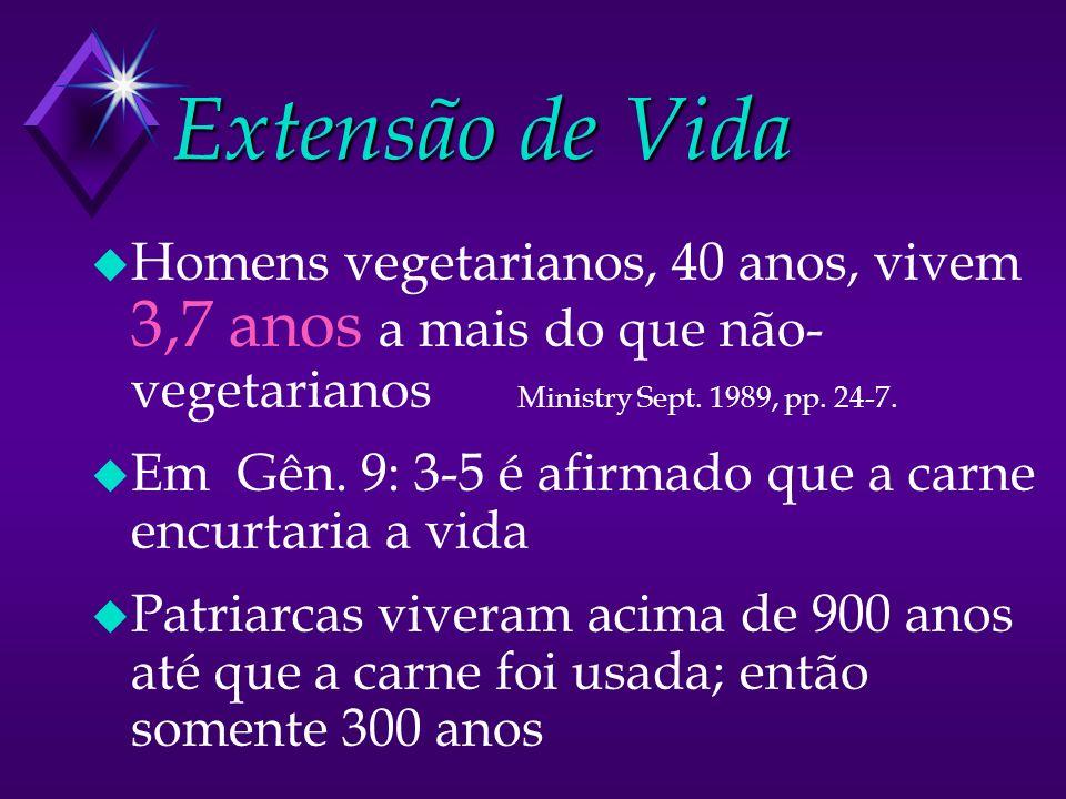 Extensão de Vida u Homens vegetarianos, 40 anos, vivem 3,7 anos a mais do que não- vegetarianos Ministry Sept. 1989, pp. 24-7. u Em Gên. 9: 3-5 é afir