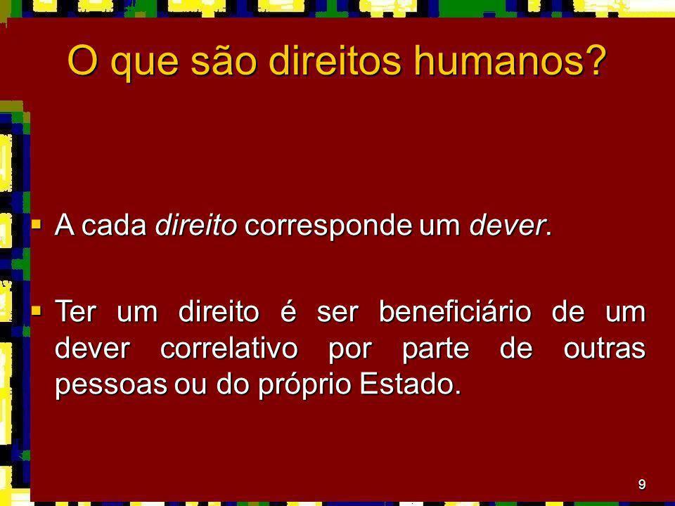 9 O que são direitos humanos? A cada direito corresponde um dever. A cada direito corresponde um dever. Ter um direito é ser beneficiário de um dever
