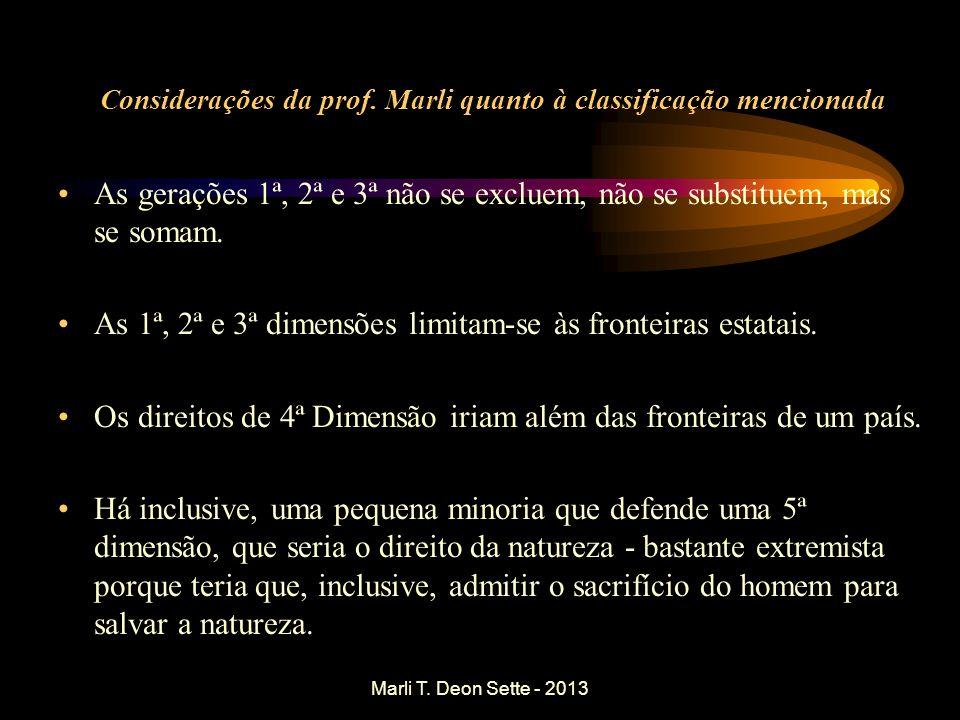 Marli T. Deon Sette - 2013 Considerações da prof. Marli quanto à classificação mencionada As gerações 1ª, 2ª e 3ª não se excluem, não se substituem, m