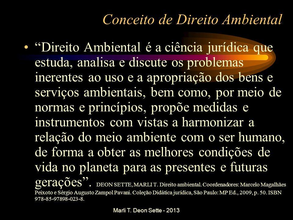 Marli T. Deon Sette - 2013 Conceito de Direito Ambiental Direito Ambiental é a ciência jurídica que estuda, analisa e discute os problemas inerentes a
