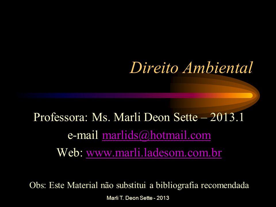 Direito Ambiental Professora: Ms. Marli Deon Sette – 2013.1 e-mail marlids@hotmail.commarlids@hotmail.com Web: www.marli.ladesom.com.brwww.marli.lades