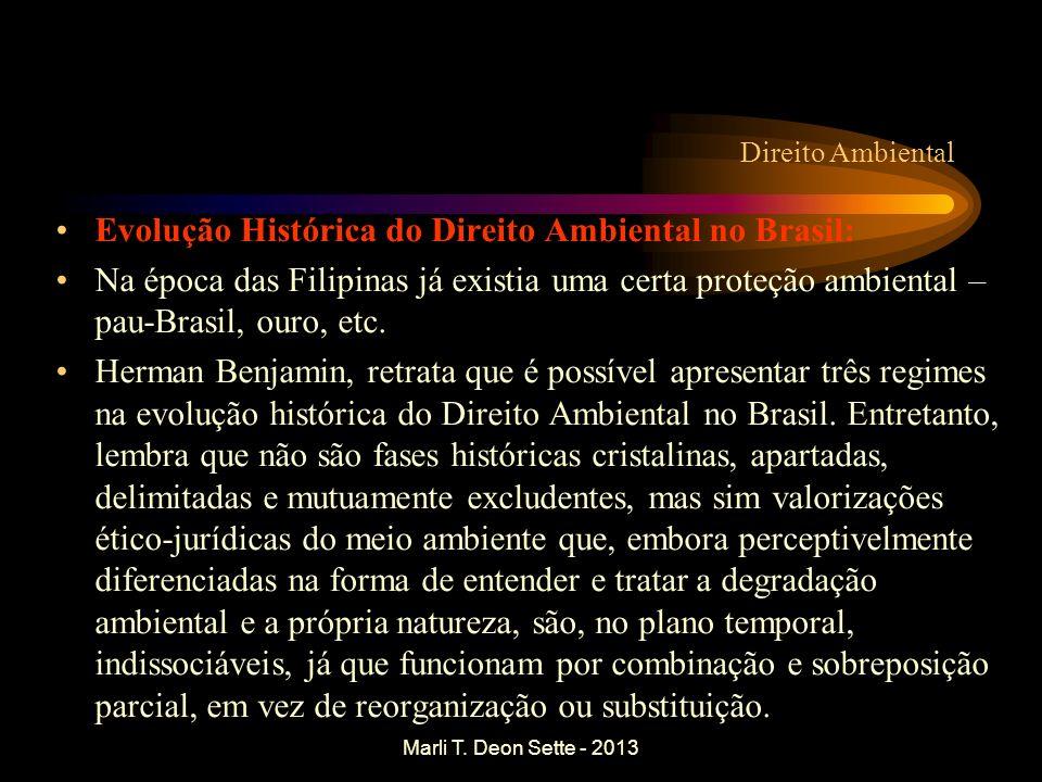 Marli T. Deon Sette - 2013 Direito Ambiental Evolução Histórica do Direito Ambiental no Brasil: Na época das Filipinas já existia uma certa proteção a