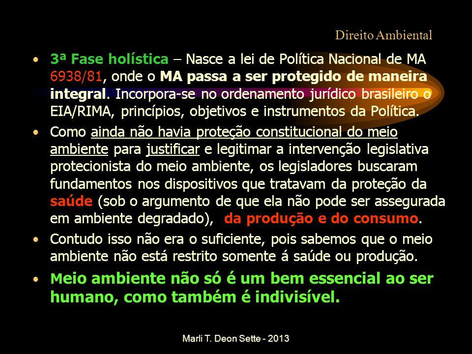 Marli T. Deon Sette - 2013 Direito Ambiental 3ª Fase holística – Nasce a lei de Política Nacional de MA 6938/81, onde o MA passa a ser protegido de ma