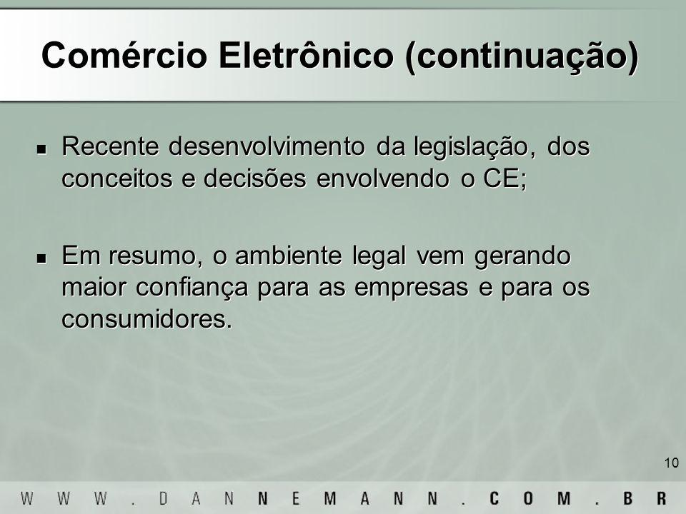 10 Comércio Eletrônico (continuação) Recente desenvolvimento da legislação, dos conceitos e decisões envolvendo o CE; Em resumo, o ambiente legal vem
