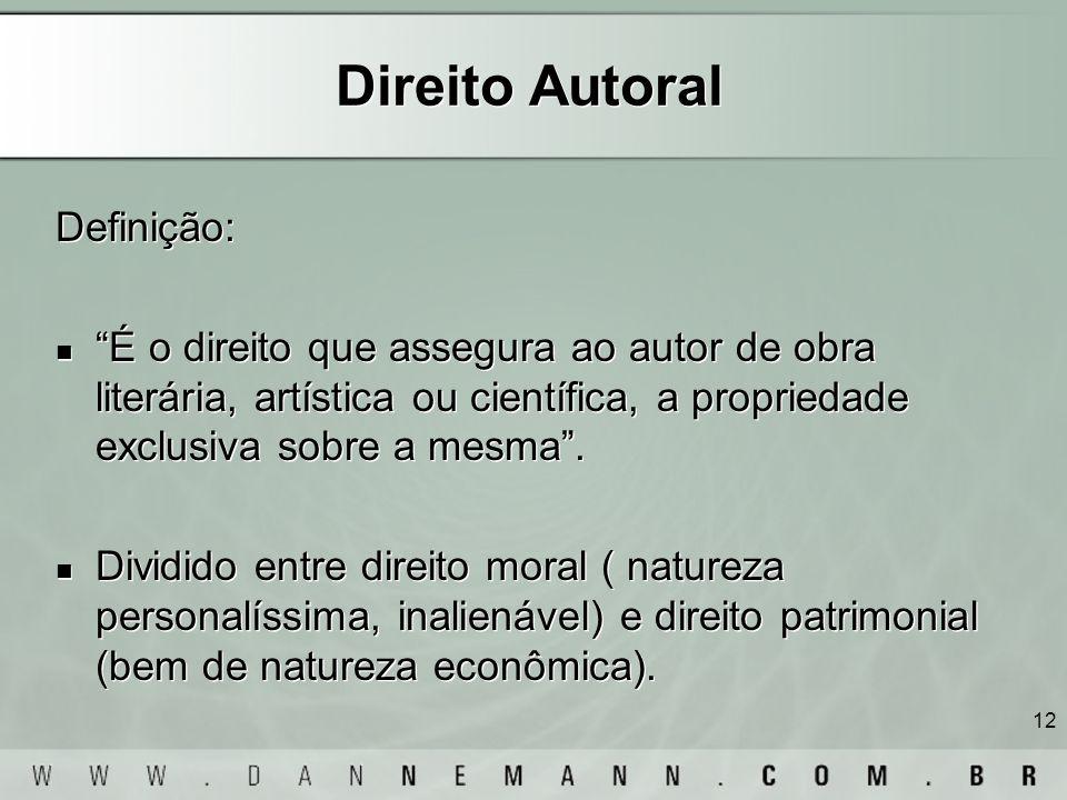 12 Direito Autoral Definição: É o direito que assegura ao autor de obra literária, artística ou científica, a propriedade exclusiva sobre a mesma. Div
