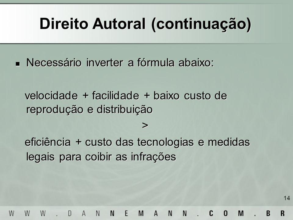14 Direito Autoral (continuação) Necessário inverter a fórmula abaixo: velocidade + facilidade + baixo custo de reprodução e distribuição > eficiência