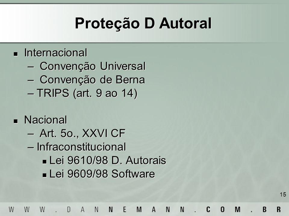 15 Proteção D Autoral Internacional – Convenção Universal – Convenção de Berna –TRIPS (art. 9 ao 14) Nacional – Art. 5o., XXVI CF –Infraconstitucional