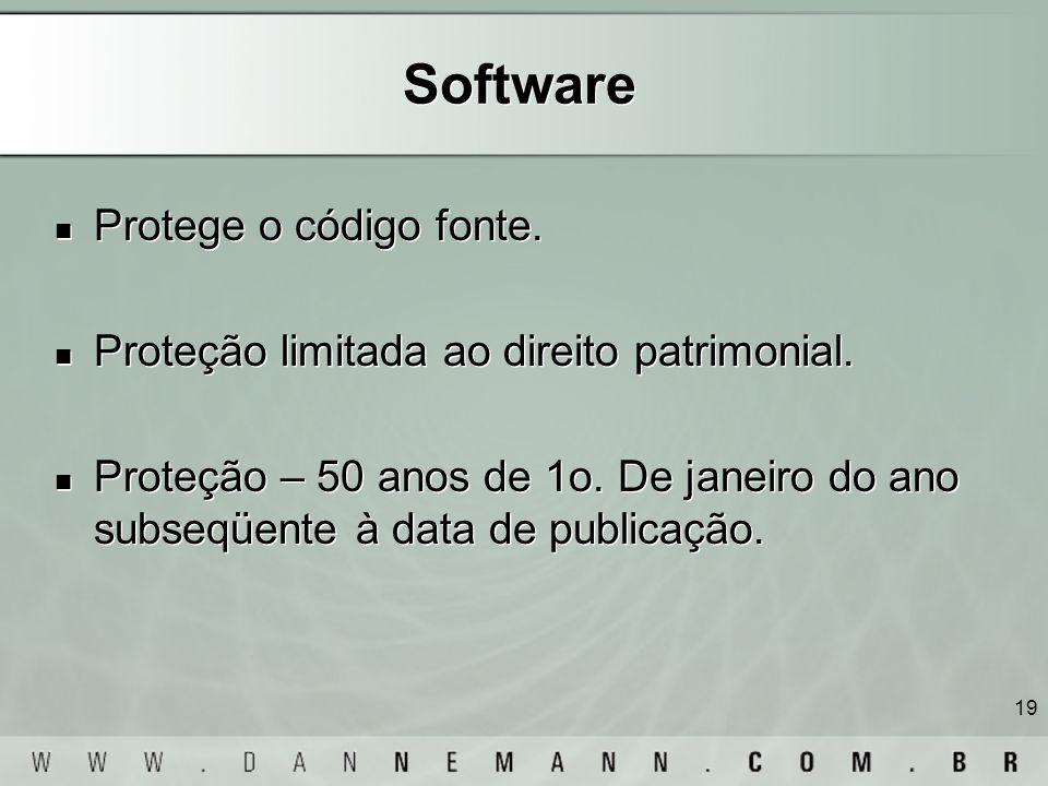 19 Software Protege o código fonte. Proteção limitada ao direito patrimonial. Proteção – 50 anos de 1o. De janeiro do ano subseqüente à data de public