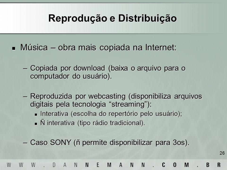 26 Reprodução e Distribuição Música – obra mais copiada na Internet: –Copiada por download (baixa o arquivo para o computador do usuário). –Reproduzid