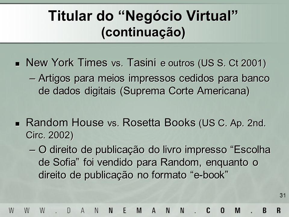 31 Titular do Negócio Virtual (continuação) New York Times vs. Tasini e outros (US S. Ct 2001) –Artigos para meios impressos cedidos para banco de dad