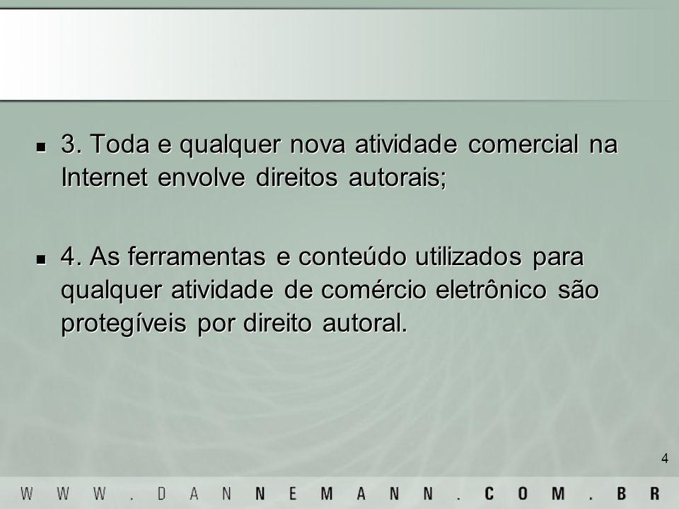 4 3. Toda e qualquer nova atividade comercial na Internet envolve direitos autorais; 4. As ferramentas e conteúdo utilizados para qualquer atividade d