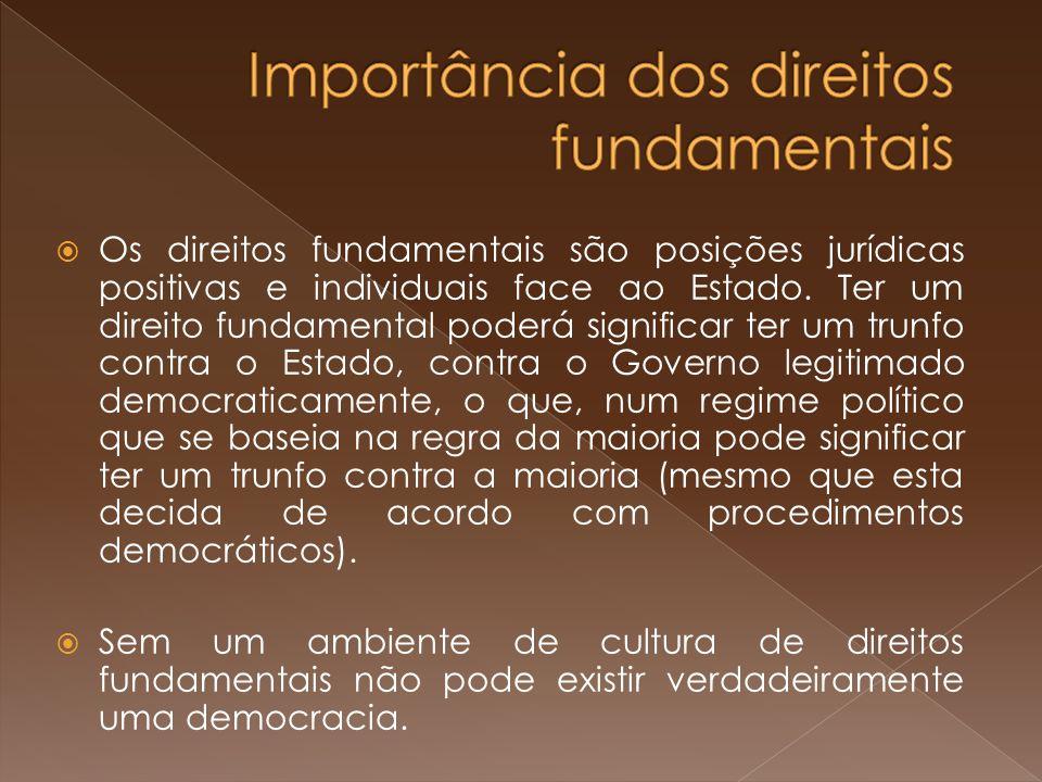Os direitos fundamentais são posições jurídicas positivas e individuais face ao Estado.
