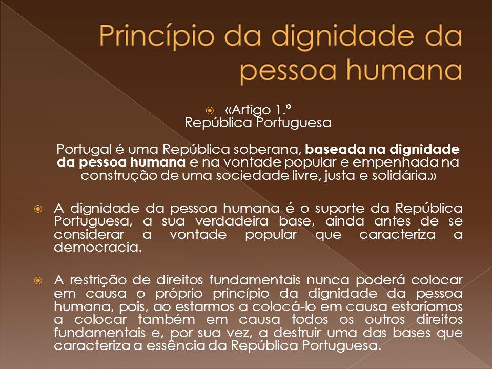 «Artigo 1.º República Portuguesa Portugal é uma República soberana, baseada na dignidade da pessoa humana e na vontade popular e empenhada na construção de uma sociedade livre, justa e solidária.» A dignidade da pessoa humana é o suporte da República Portuguesa, a sua verdadeira base, ainda antes de se considerar a vontade popular que caracteriza a democracia.