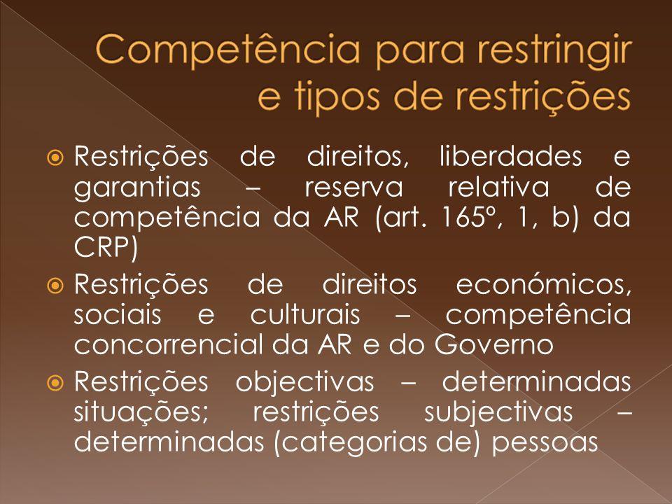 Restrições de direitos, liberdades e garantias – reserva relativa de competência da AR (art.