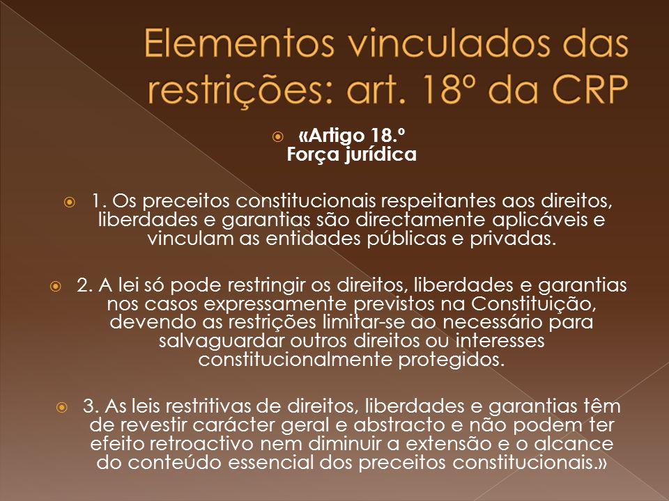 «Artigo 18.º Força jurídica 1.