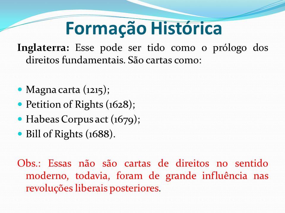 Inglaterra: Esse pode ser tido como o prólogo dos direitos fundamentais. São cartas como: Magna carta (1215); Petition of Rights (1628); Habeas Corpus