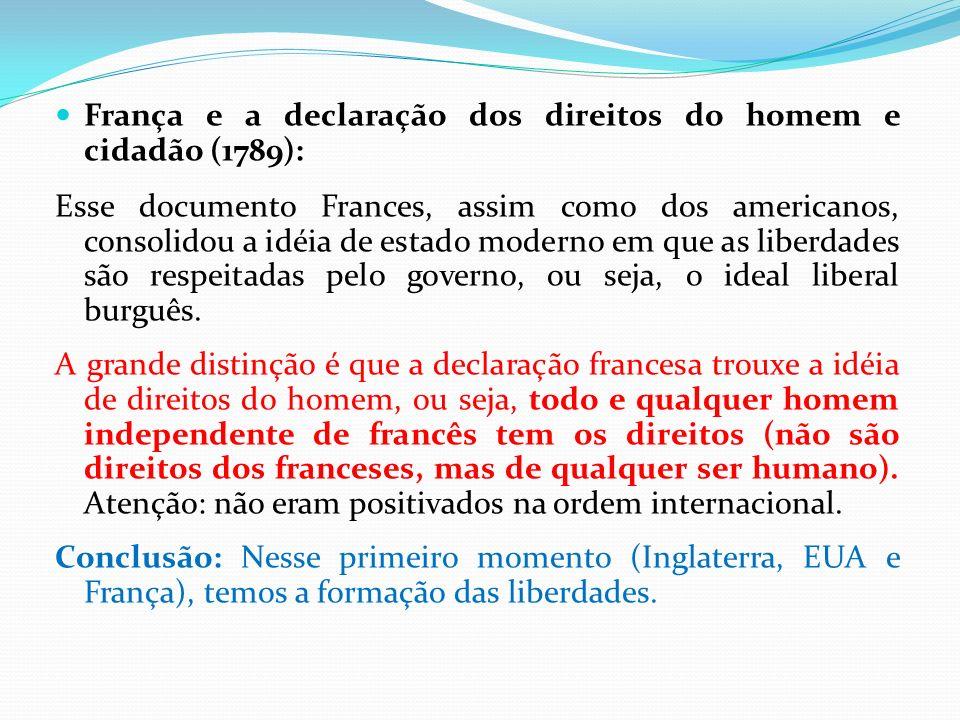 França e a declaração dos direitos do homem e cidadão (1789): Esse documento Frances, assim como dos americanos, consolidou a idéia de estado moderno