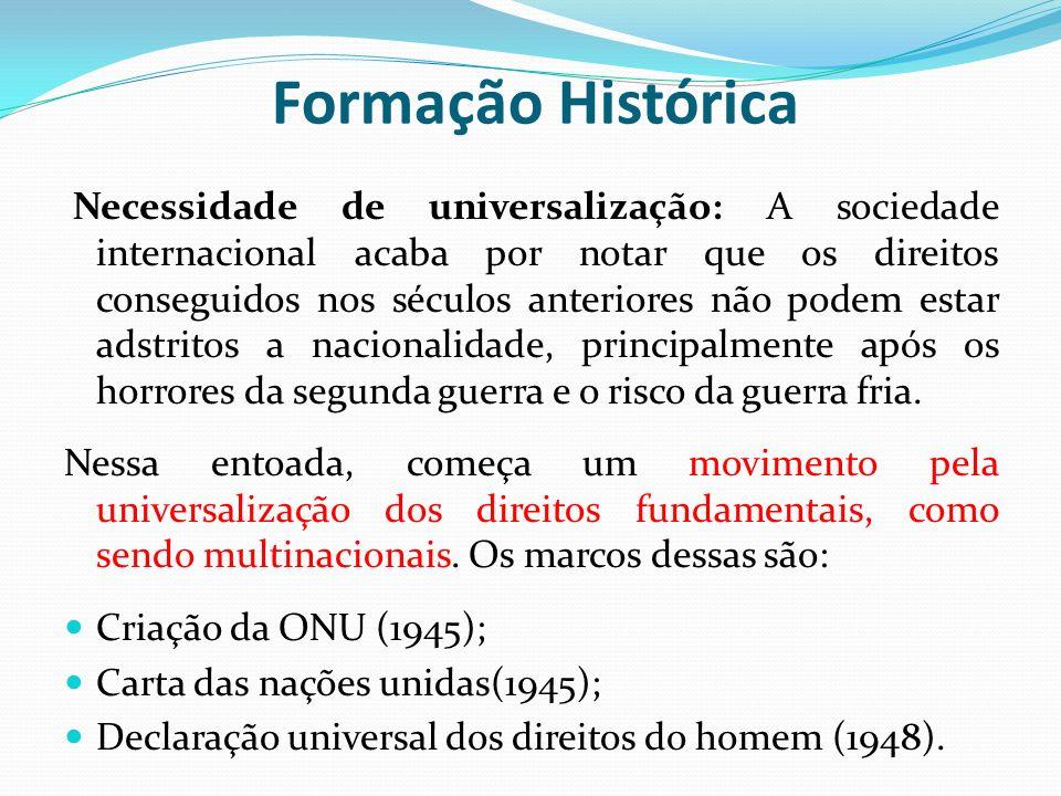 Necessidade de universalização: A sociedade internacional acaba por notar que os direitos conseguidos nos séculos anteriores não podem estar adstritos