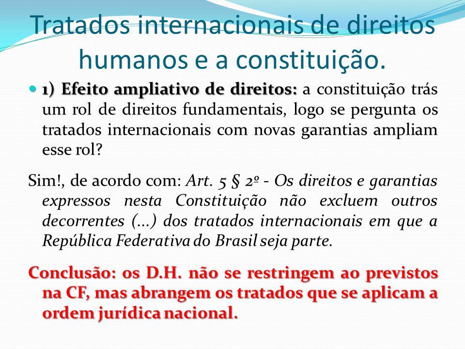 Tratados internacionais de direitos humanos e a constituição. 1) Efeito ampliativo de direitos: 1) Efeito ampliativo de direitos: a constituição trás