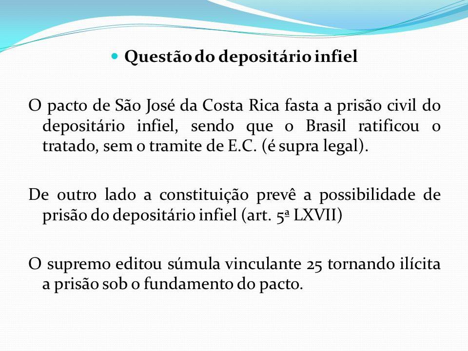Questão do depositário infiel O pacto de São José da Costa Rica fasta a prisão civil do depositário infiel, sendo que o Brasil ratificou o tratado, se