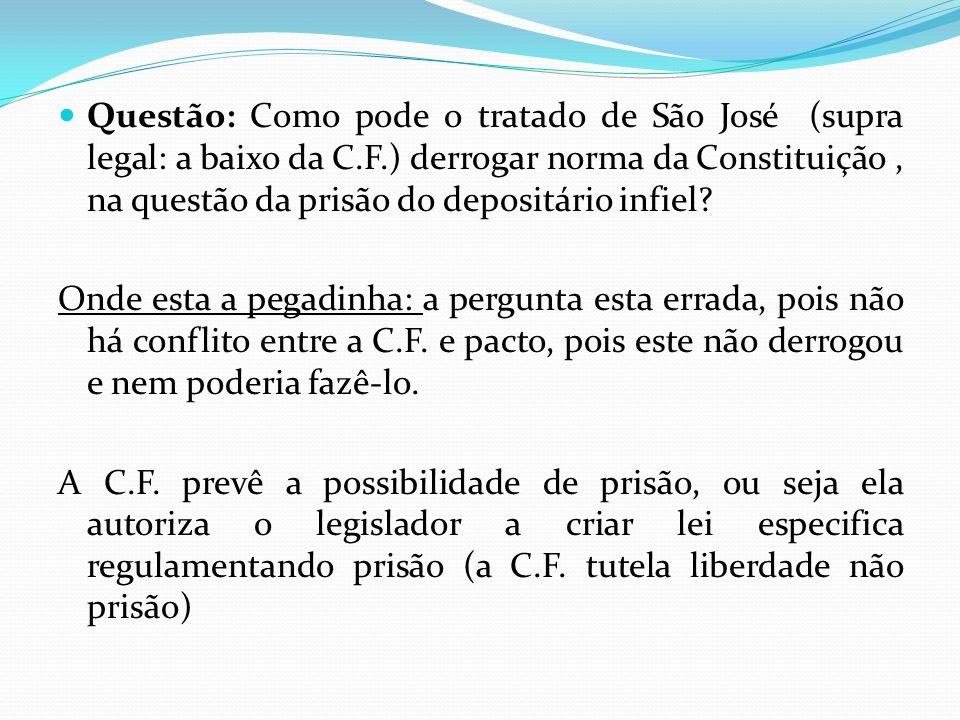 Questão: Como pode o tratado de São José (supra legal: a baixo da C.F.) derrogar norma da Constituição, na questão da prisão do depositário infiel? On