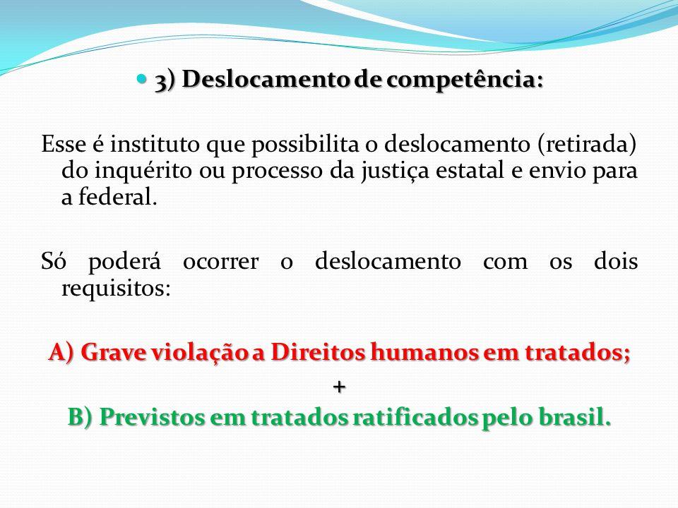 3) Deslocamento de competência: 3) Deslocamento de competência: Esse é instituto que possibilita o deslocamento (retirada) do inquérito ou processo da