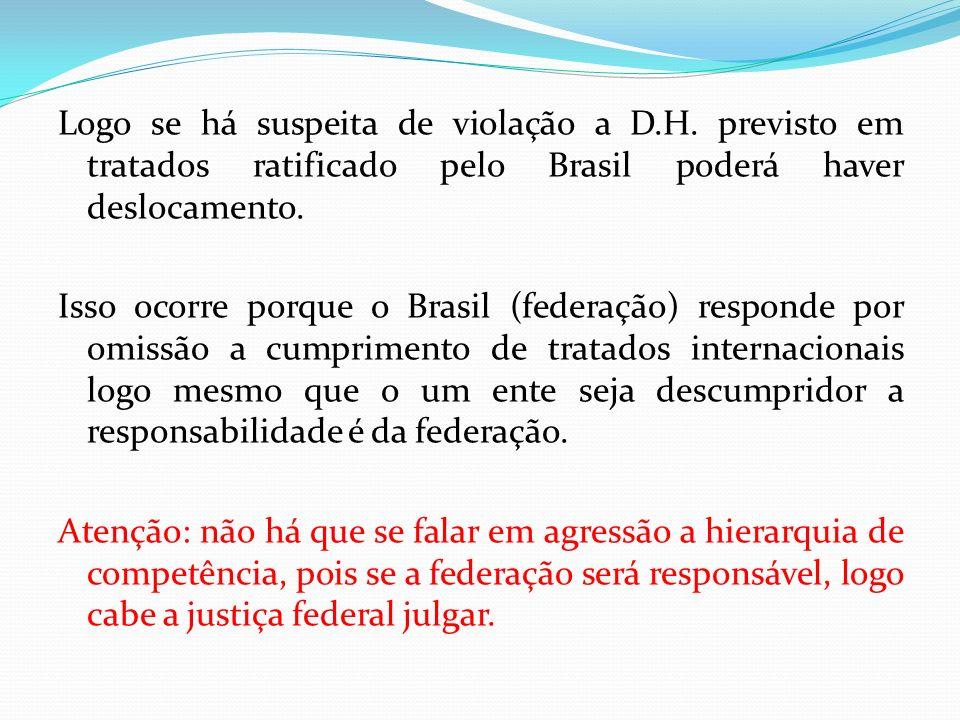 Logo se há suspeita de violação a D.H. previsto em tratados ratificado pelo Brasil poderá haver deslocamento. Isso ocorre porque o Brasil (federação)