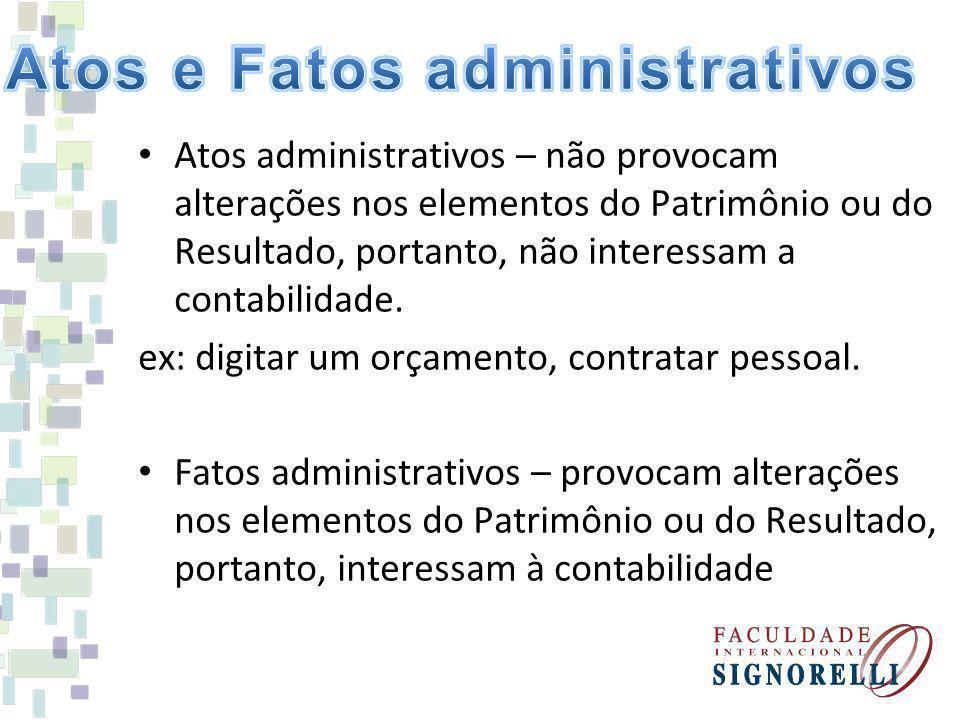 Atos administrativos – não provocam alterações nos elementos do Patrimônio ou do Resultado, portanto, não interessam a contabilidade.