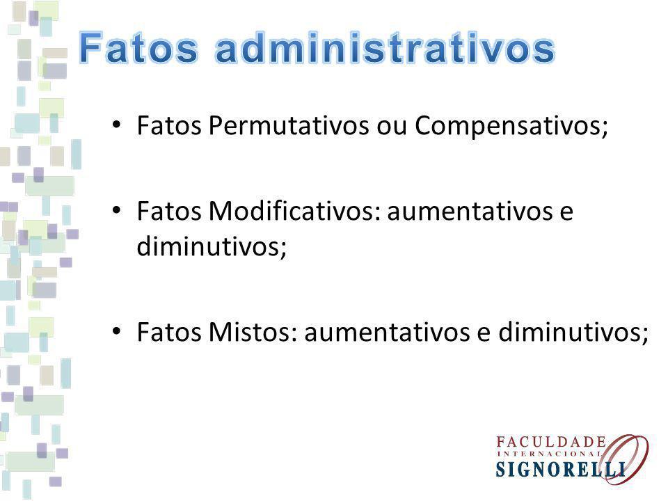Fatos Permutativos ou Compensativos; Fatos Modificativos: aumentativos e diminutivos; Fatos Mistos: aumentativos e diminutivos;