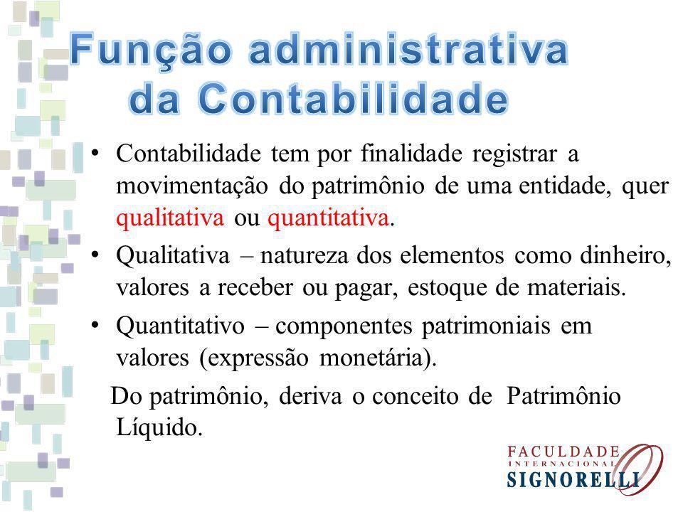 Contabilidade tem por finalidade registrar a movimentação do patrimônio de uma entidade, quer qualitativa ou quantitativa.