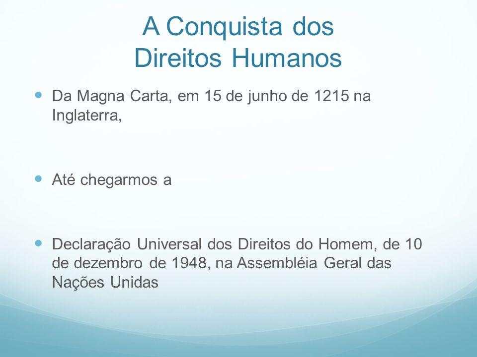 A Conquista dos Direitos Humanos Da Magna Carta, em 15 de junho de 1215 na Inglaterra, Até chegarmos a Declaração Universal dos Direitos do Homem, de