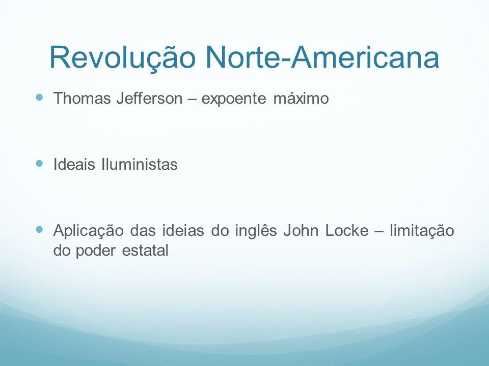 Revolução Norte-Americana Thomas Jefferson – expoente máximo Ideais Iluministas Aplicação das ideias do inglês John Locke – limitação do poder estatal
