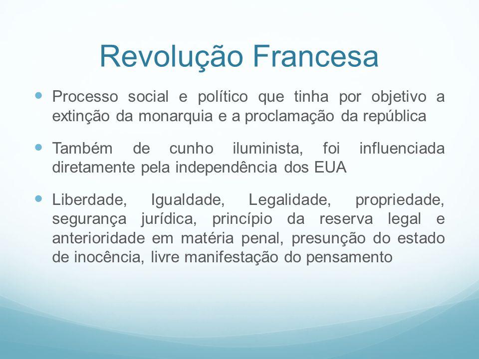 Revolução Francesa Processo social e político que tinha por objetivo a extinção da monarquia e a proclamação da república Também de cunho iluminista,