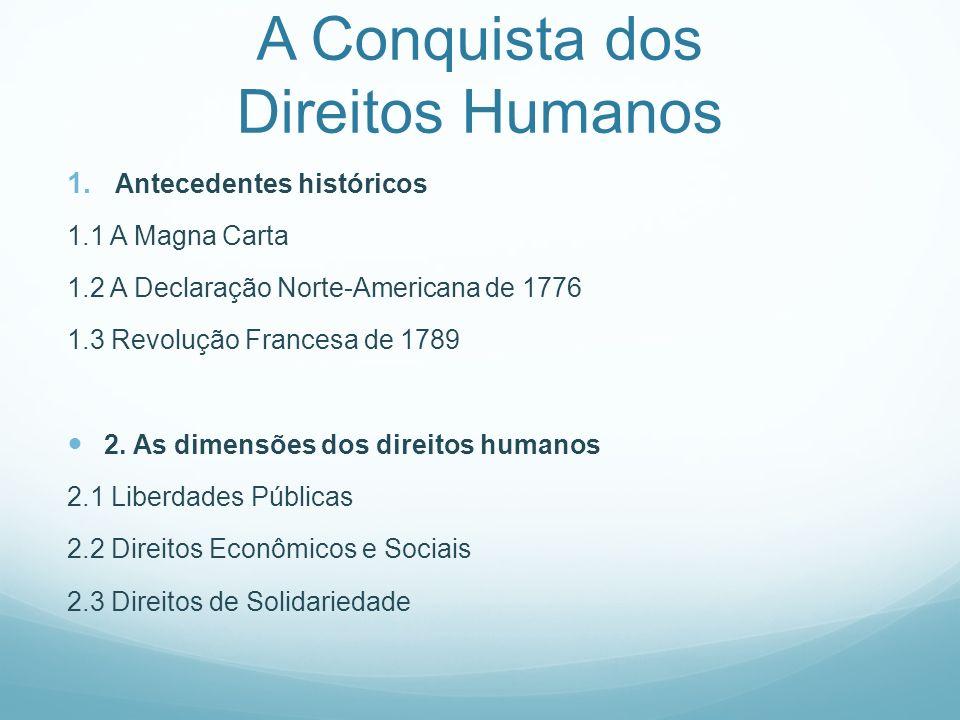 A Conquista dos Direitos Humanos 1. Antecedentes históricos 1.1 A Magna Carta 1.2 A Declaração Norte-Americana de 1776 1.3 Revolução Francesa de 1789