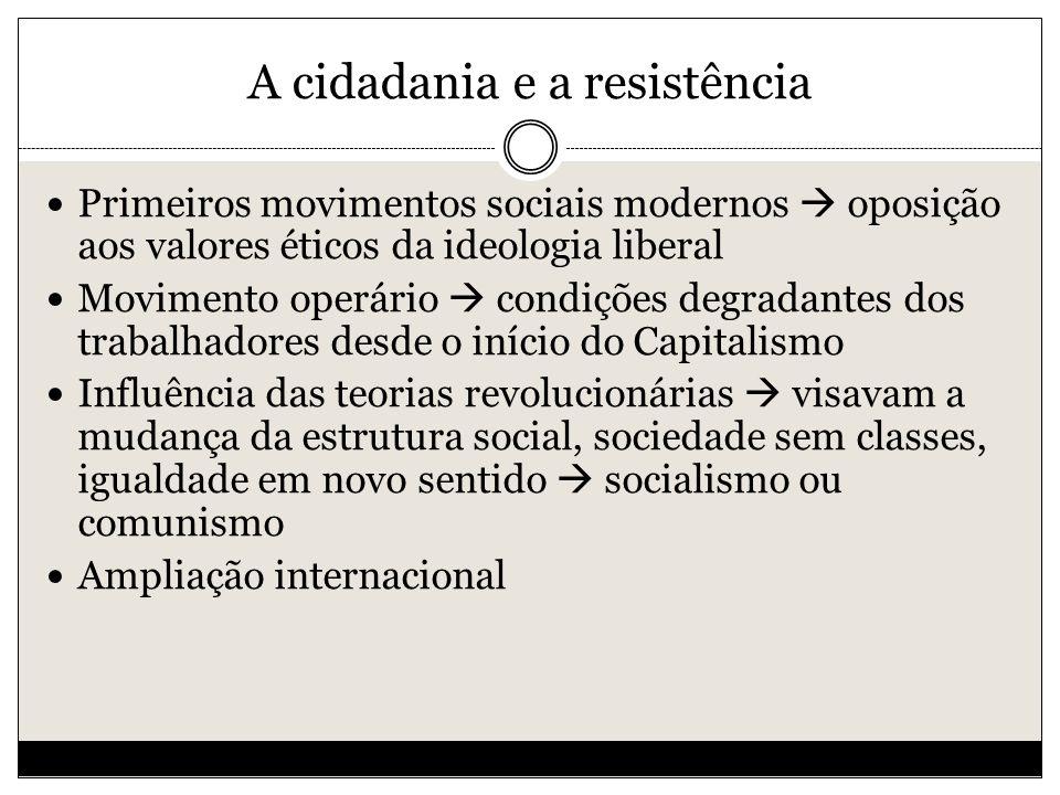 A cidadania e a resistência Primeiros movimentos sociais modernos oposição aos valores éticos da ideologia liberal Movimento operário condições degradantes dos trabalhadores desde o início do Capitalismo Influência das teorias revolucionárias visavam a mudança da estrutura social, sociedade sem classes, igualdade em novo sentido socialismo ou comunismo Ampliação internacional