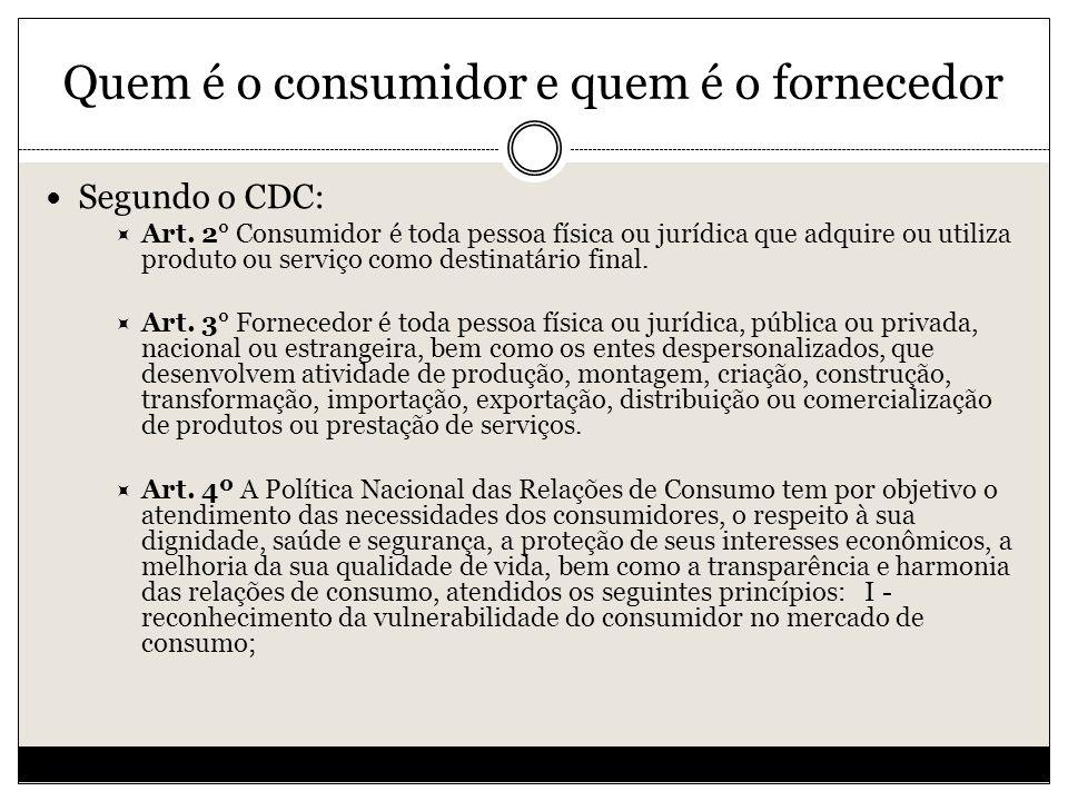 Quem é o consumidor e quem é o fornecedor Segundo o CDC: Art.
