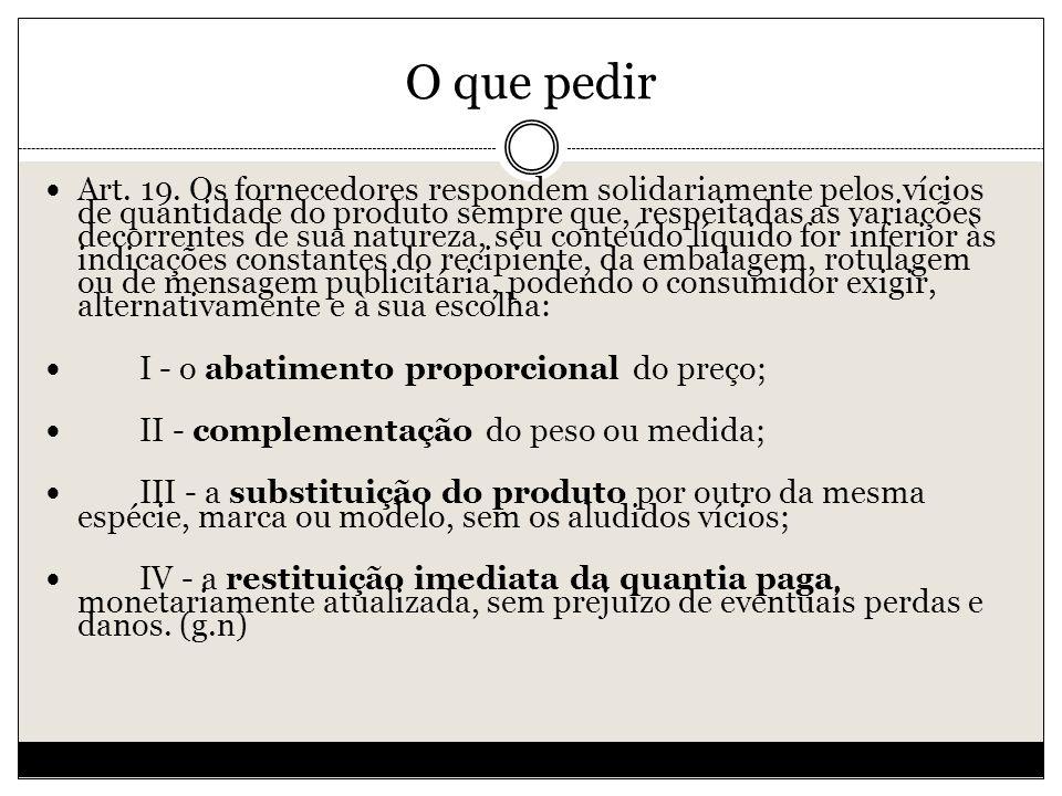 O que pedir Art.19.