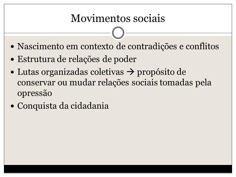 Movimentos sociais Nascimento em contexto de contradições e conflitos Estrutura de relações de poder Lutas organizadas coletivas propósito de conservar ou mudar relações sociais tomadas pela opressão Conquista da cidadania