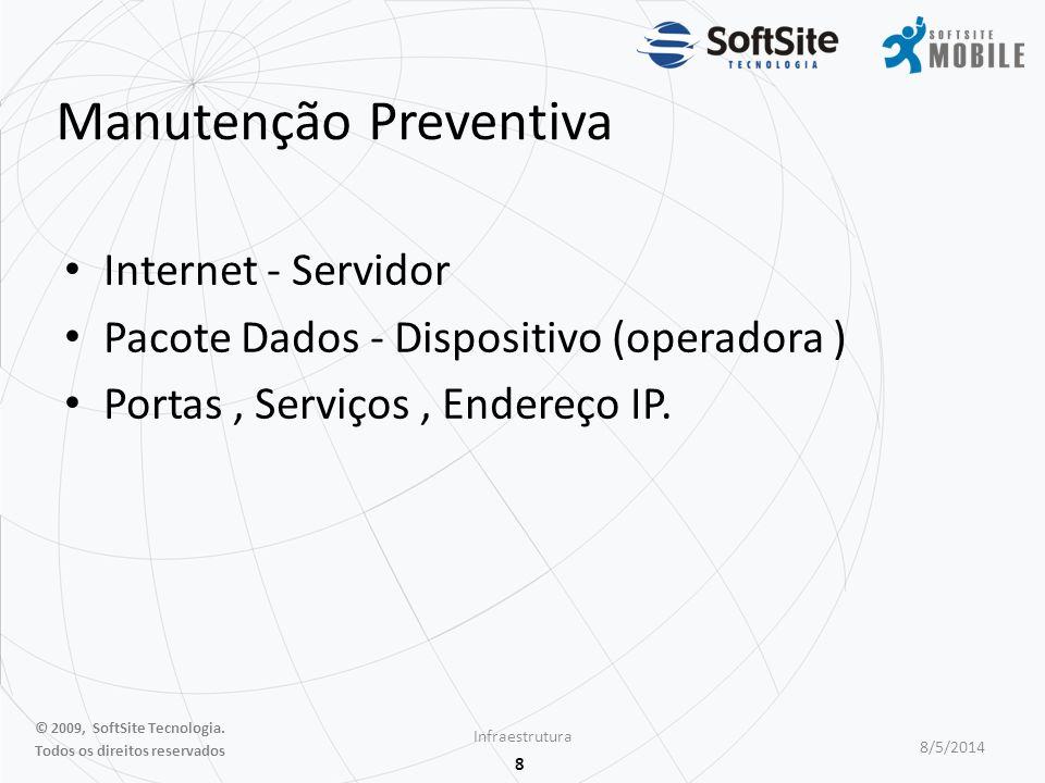 8 Manutenção Preventiva Internet - Servidor Pacote Dados - Dispositivo (operadora ) Portas, Serviços, Endereço IP.