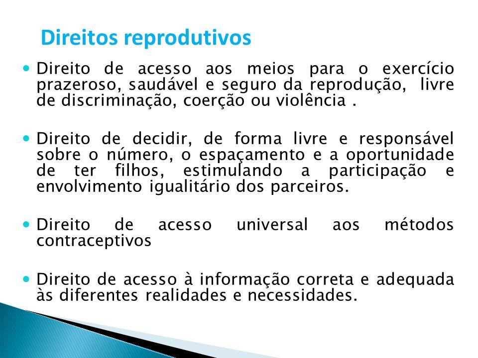 Direitos reprodutivos Direito de acesso aos meios para o exercício prazeroso, saudável e seguro da reprodução, livre de discriminação, coerção ou viol