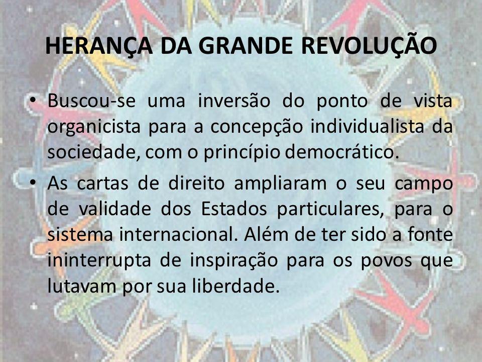 HERANÇA DA GRANDE REVOLUÇÃO Buscou-se uma inversão do ponto de vista organicista para a concepção individualista da sociedade, com o princípio democrá