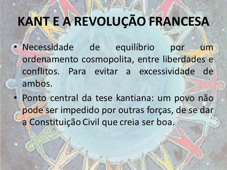 KANT E A REVOLUÇÃO FRANCESA Necessidade de equilíbrio por um ordenamento cosmopolita, entre liberdades e conflitos. Para evitar a excessividade de amb