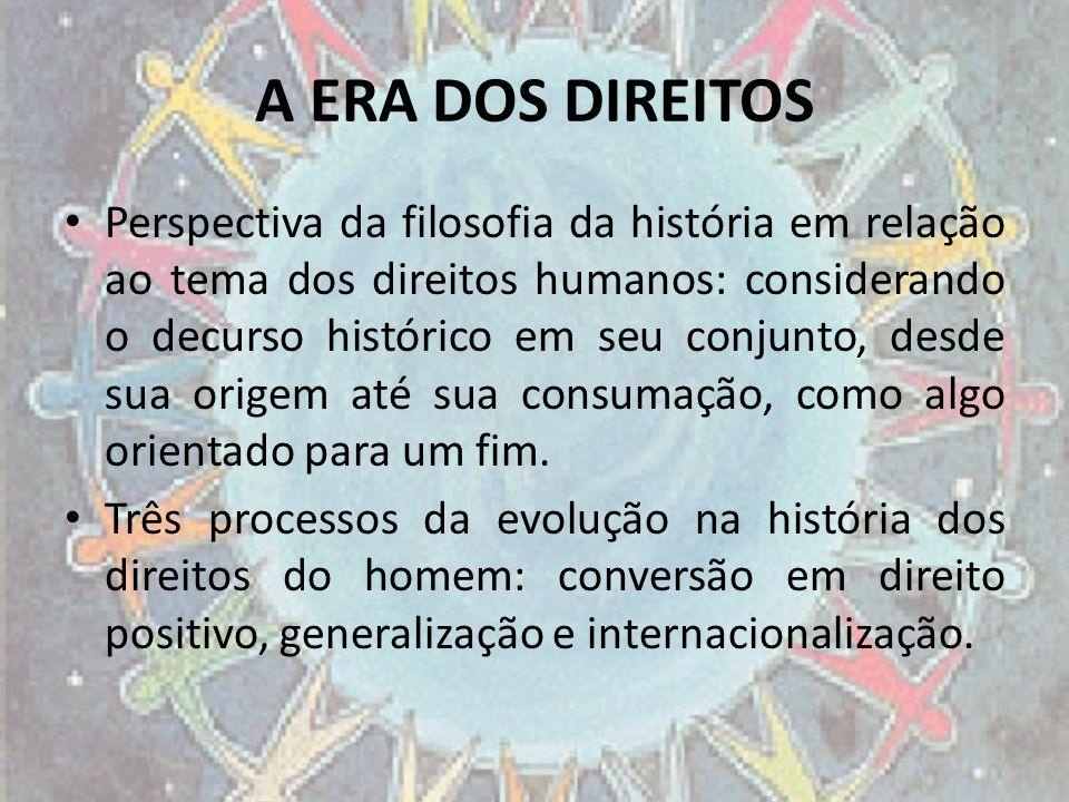 A ERA DOS DIREITOS Perspectiva da filosofia da história em relação ao tema dos direitos humanos: considerando o decurso histórico em seu conjunto, des