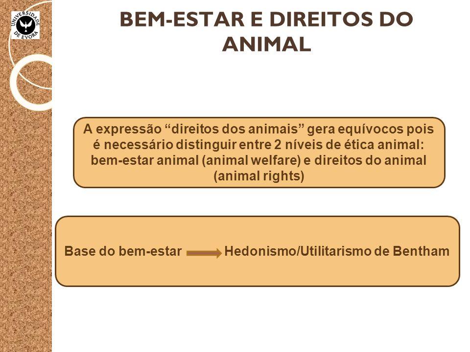 BEM-ESTAR E DIREITOS DO ANIMAL Base do bem-estar Hedonismo/Utilitarismo de Bentham A expressão direitos dos animais gera equívocos pois é necessário distinguir entre 2 níveis de ética animal: bem-estar animal (animal welfare) e direitos do animal (animal rights)